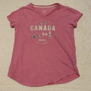 Roots kids tee size Large (9-10 years) pink.